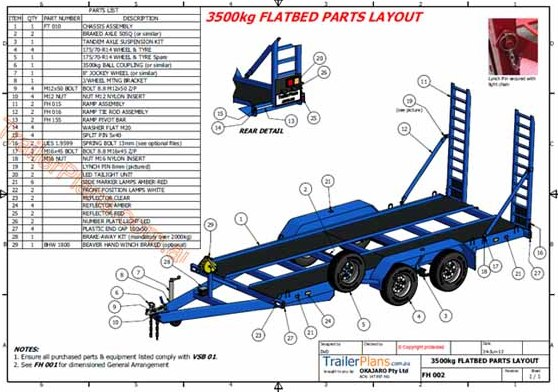 3500kg flatbed trailer plans www.trailerplans.com.au