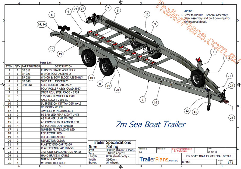 Boat trailer plans trailer plans designs and drawings boat trailer plans trailerplans malvernweather Gallery