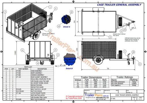cage trailer plans www.trailerplans.com.au