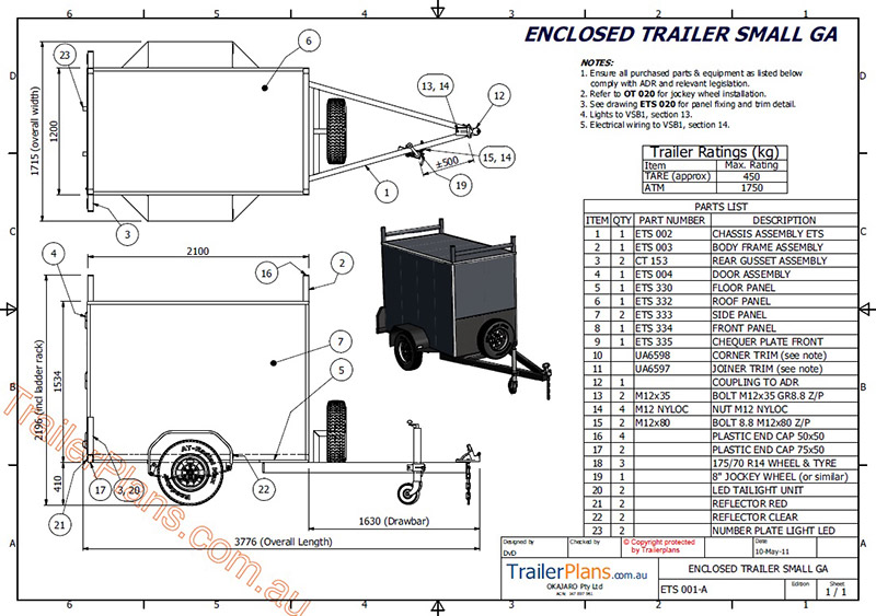 Single Axle Trailer Plans : Enclosed trailer plan drawings assembly guide pictures