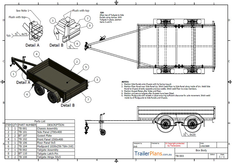Tandem box trailer plan trailer plans designs and drawings for Rv blueprints