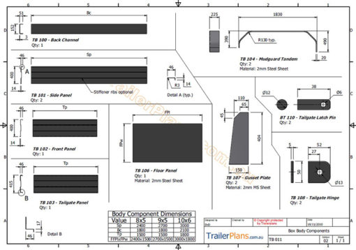 tandem axle box trailer plans www.trailerplans.com.au