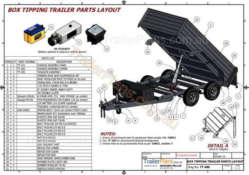3400kg hydraulic tipping trailer plans www.trailerplans.com.au