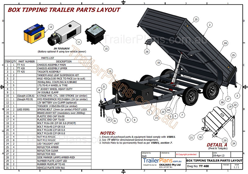 hydraulic tipping trailer   trailer plans