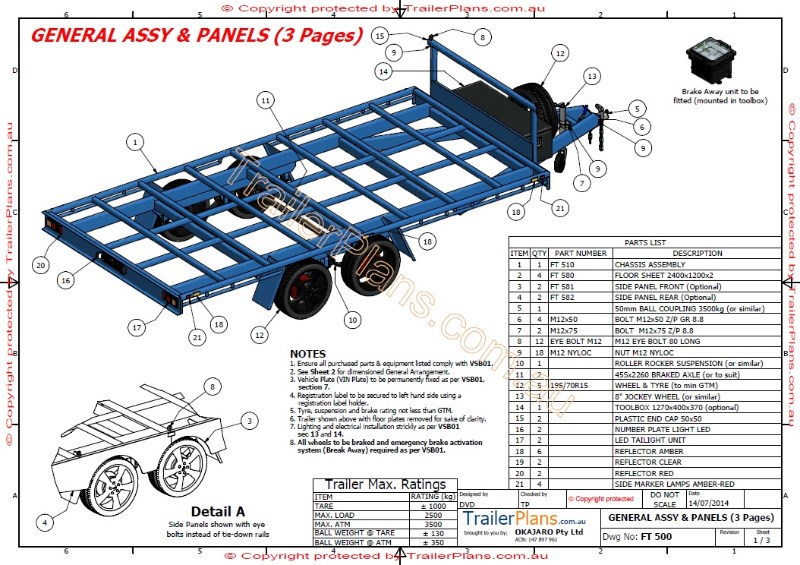Flat top trailer plan for Rv blueprints
