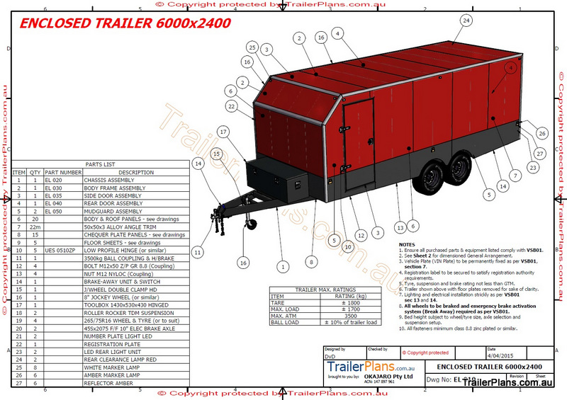 6m enclosed trailer plan rh trailerplans com au