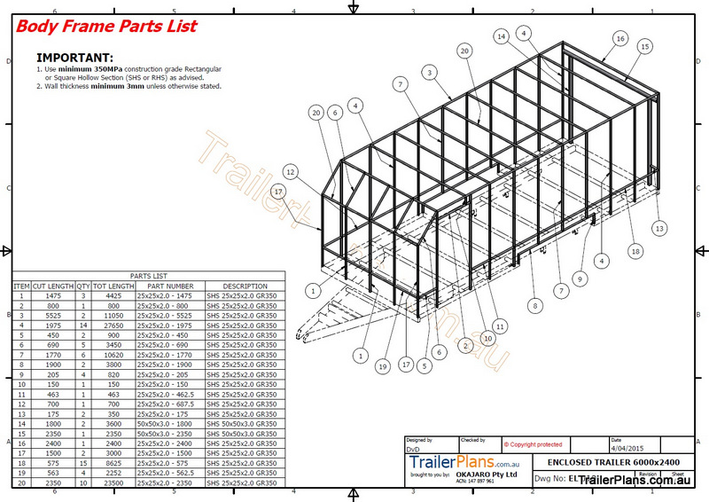 6m Enclosed Trailer Plan