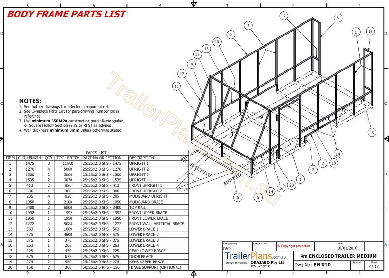 4m enclosed motorbike trailer plan trailer plans plan build save rh trailerplans com au Trailer Plug Schematic enclosed trailer schematics
