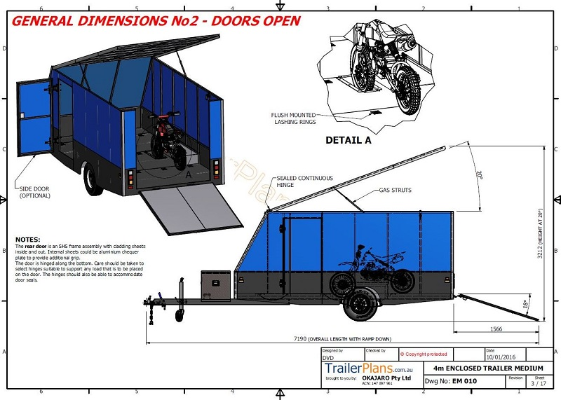 4m enclosed motorbike trailer   trailerplans   au