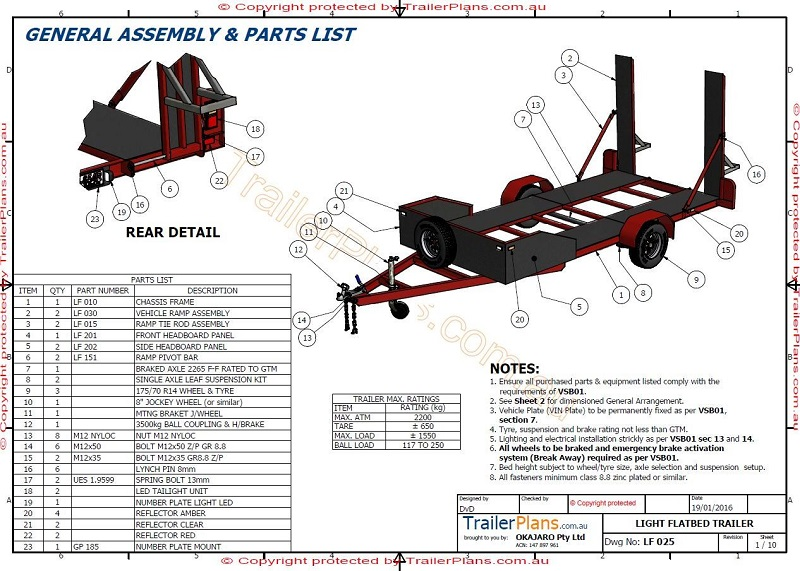 Single Axle Trailer Plans : Single axle flatbed car trailer plans new release