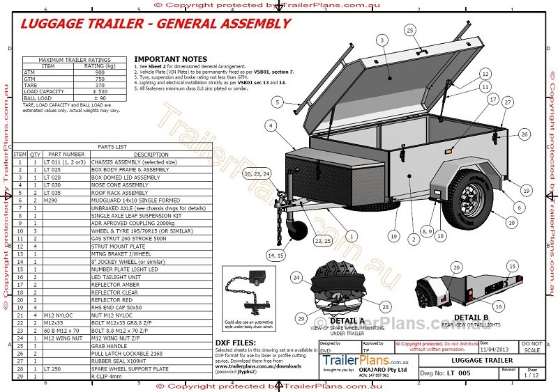 Single Axle Trailer Plans : Luggage trailer plans